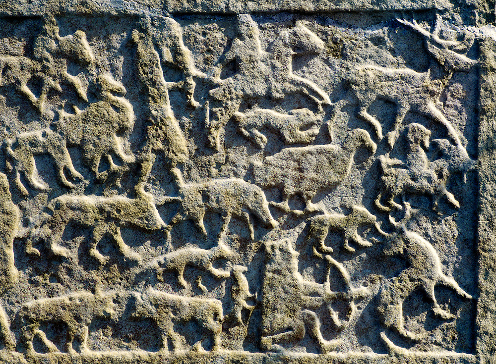 Hunting animal scene on carved Celtic Pictish Christian symbol stone at Shandwick, Easter Ross, Highland Region, Scotland