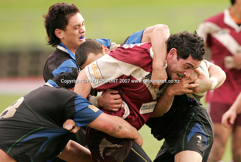 Harbour's Tane Hart in action during the Bartercard Cup rugby league match between Harbour League and Waicoa Bay Stallions at Mt Smart Stadium no.2 , Auckland, New Zealand on Saturday 7 July 2007. Photo: Hagen Hopkins/PHOTOSPORT