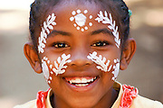 Madagascar, Nosy Komba Island Child with painted face