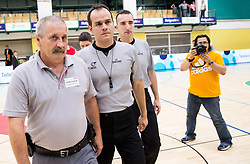 Referees Bojan Krejic, Marko Vuckovic and Blaz Zupancic with security guards after the basketball match between KK Krka Novo mesto and  KK Petrol Olimpija in 4th Final game of Liga Nova KBM za prvaka 2017/18, on May 27, 2018 in Sports hall Leona Stuklja, Novo mesto, Slovenia. Photo by Vid Ponikvar / Sportida