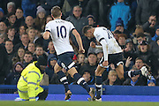 Tottenham Hotspur midfielder Dele Alli celebrates his goal  during the Barclays Premier League match between Everton and Tottenham Hotspur at Goodison Park, Liverpool, England on 3 January 2016. Photo by Simon Davies.