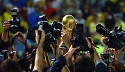 The World Cup Trophy is held aloft amidst a sea of camera's.The World Cup Final match against Germany played at the International Stadium Yokohama, Yokohama, Japan on June 30, 2002. Brazil won the match 2-0. ....