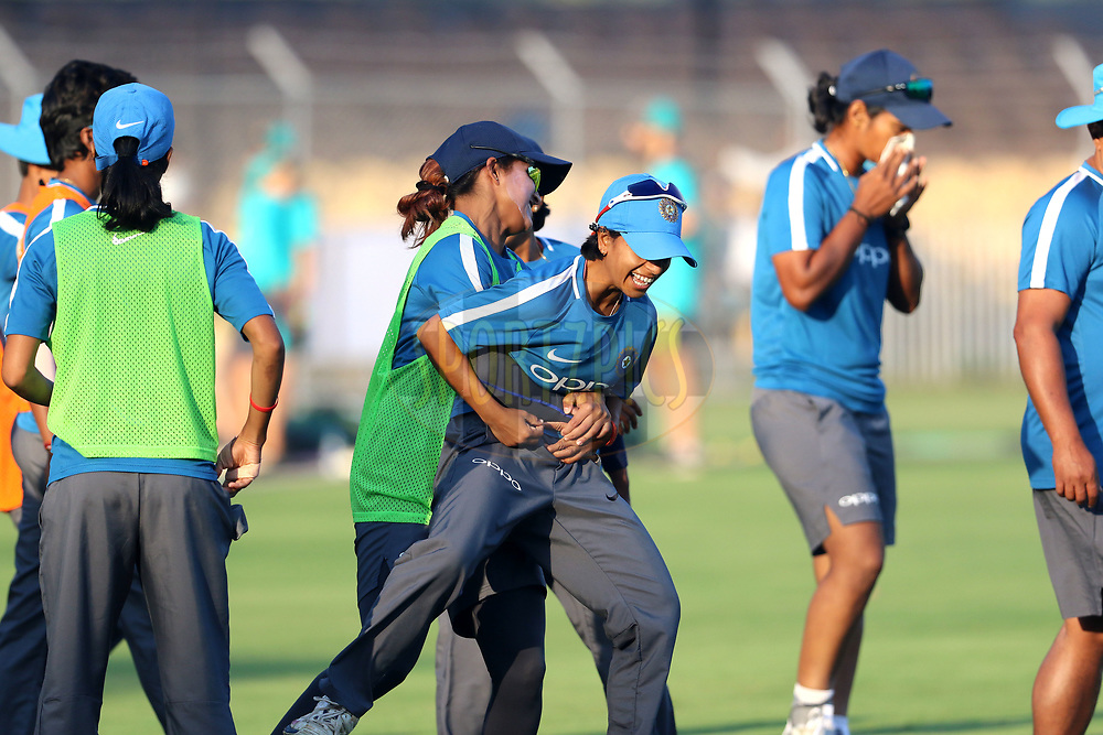 Indian players before the start of the first women's one day International ( ODI ) match between India and Australia held at the Reliance Cricket Stadium in Vadodara, India on the 12th March 2018<br /> <br /> Photo by Vipin Pawar / BCCI / SPORTZPICS