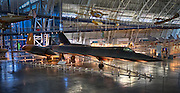 USA, Virginia, Chantilly. A Lockheed SR-71 Blackbird in the Boeing Avaiation Hangar at the Udvar-Hazy Center of the National Air and Space Museum.