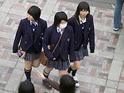 Japanese school children in school uniform