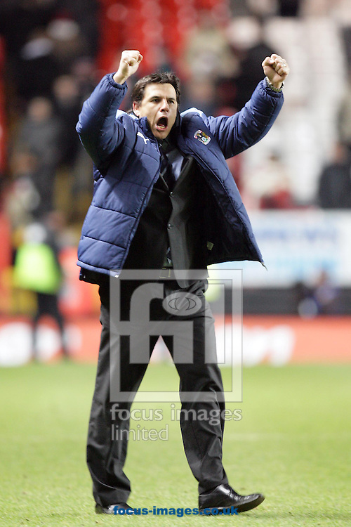 London - Tuesday December 8th, 2008: Coventry City manager Chris Coleman celebrates after the Coca Cola Championship match at The Valley, London. (Pic by Mark Chapman/Focus Images)