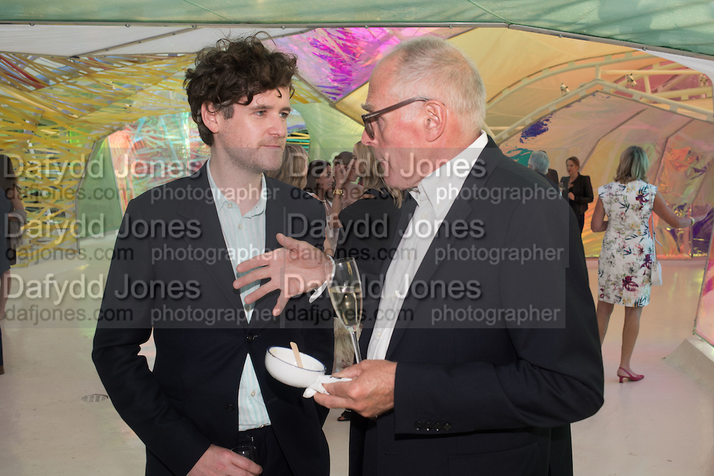 RUAIRIADH O CONNELL; RICHARD WENTWORTHSerpentine's Summer party co-hosted with Christopher Kane. 15th Serpentine Pavilion designed by Spanish architects Selgascano. Kensington Gardens. London. 2 July 2015.