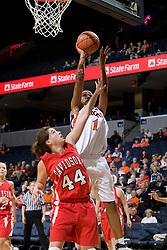 Virginia forward Lyndra Littles (1) shoots over Davidson guard-forward Danielle Hemerka (44).  The Virginia Cavaliers women's basketball team defeated the Davidson Wildcats 83-68 at the John Paul Jones Arena in Charlottesville, VA on December 20, 2007.