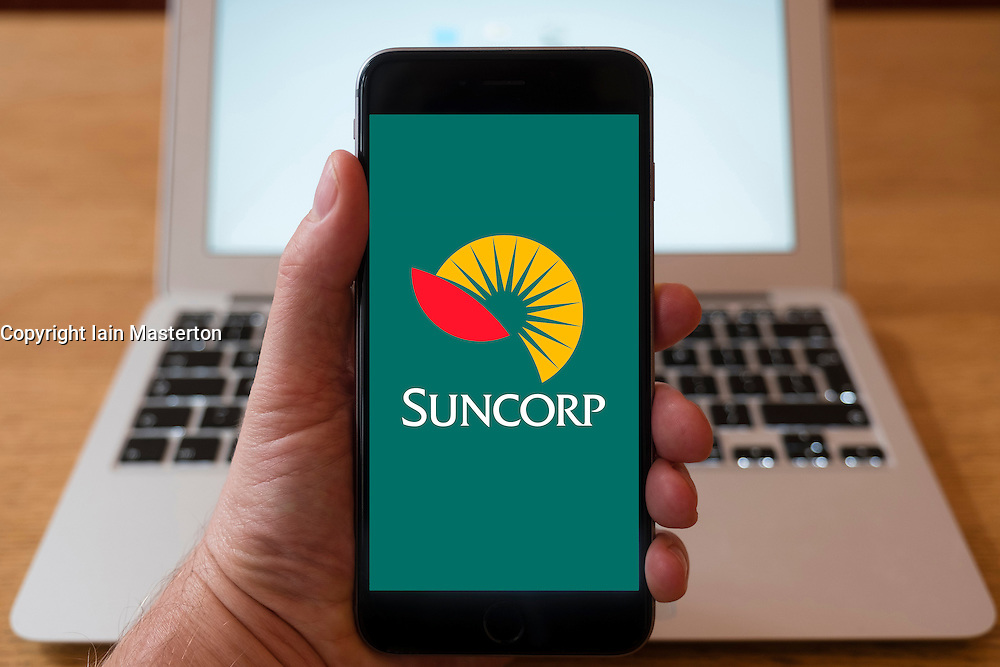 Using iPhone smart phone to display website logo of Suncorp Australian Financial Services Group