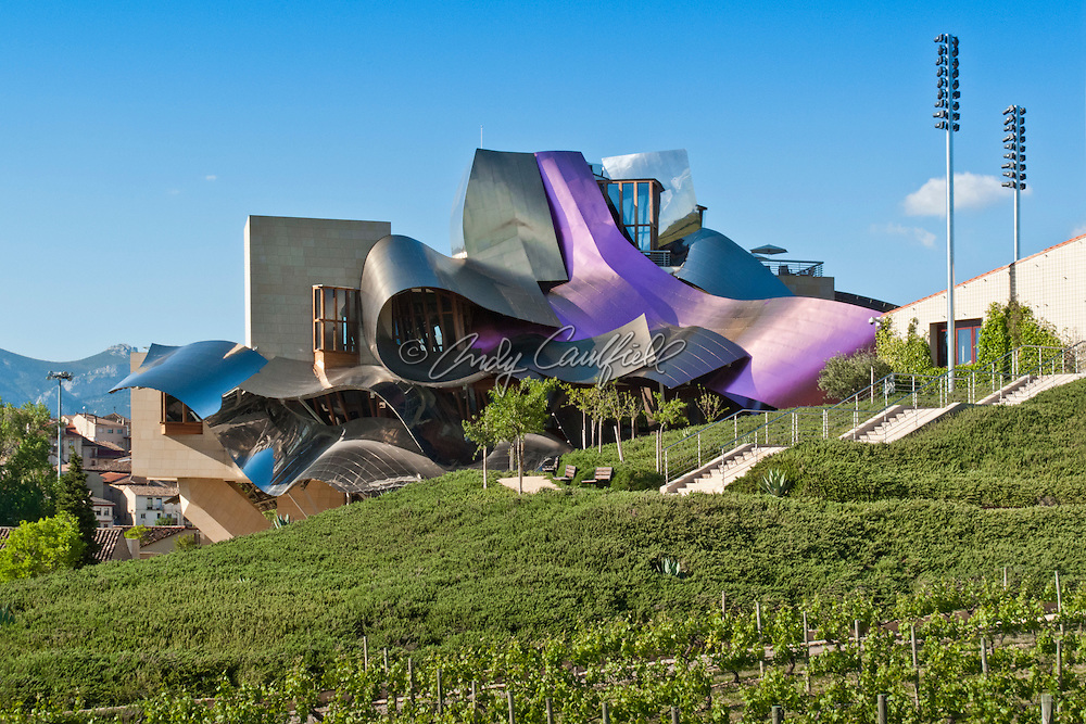 Exterior of Marqués de Riscal Vineyard Hotel-Elciego, Spain. Built in the Rioja wine region 2006.Architect: Frank O. Gehry