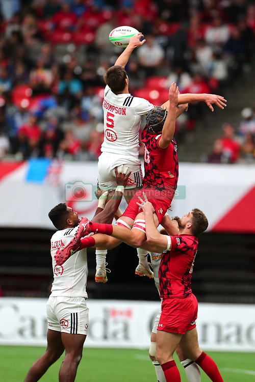March 9, 2019 - Vancouver, BC, U.S. - VANCOUVER, BC - MARCH 09:  Brett Thompson (5)  of the United States jumps for the ball against Cai Devine (8) of Whales during day 1 of the 2019 Canada Sevens Rugby Tournament on March 9, 2019 at BC Place in Vancouver, British Columbia, Canada. (Photo by Devin Manky/Icon Sportswire) (Credit Image: © Devin Manky/Icon SMI via ZUMA Press)