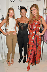 Left to right, NATALIE JOEL, LILY FRAZER and LAUREN HUTTON at the launch for the collaboration of Joel Swimwear for Collier Bristow held at Collier Bristow, 61 King's Road, Chelsea, London on 11th August 2016.