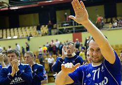 Luka Zvizej of RK Celje PL celebrates after winning during handball match between RK Gorenje Velenje and RK Celje Pivovarna Lasko in 2nd Round of Final of 1st NLB League and Slovenian National Handball Championship 2014/15, on May 26, 2015 in Rdeca dvorana, Velenje, Slovenia. Photo by Vid Ponikvar / Sportida