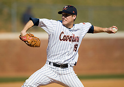 Virginia Cavaliers LHP Pat McAnaney (19) pitches against Cornell.  The #16 ranked Virginia Cavaliers baseball team defeated the Cornell Big Red 12-2 at the University of Virginia's Davenport Field in Charlottesville, VA on March 1, 2008.