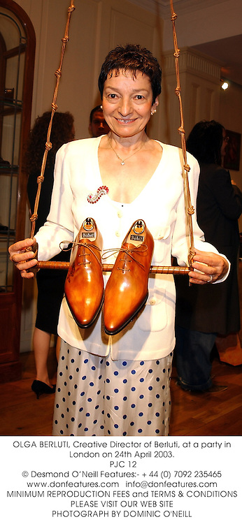 OLGA BERLUTI, Creative Director of Berluti, at a party in London on 24th April 2003.<br />