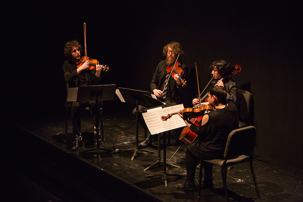 Rob Moose, Ben Russell (violins), Clarice Jensen (cello), and Nadia Sirota (viola) perform quartets composed by Bryce Dessner, Sufjian Stevens and Nico Muhly at the Brooklyn Academy of Music.