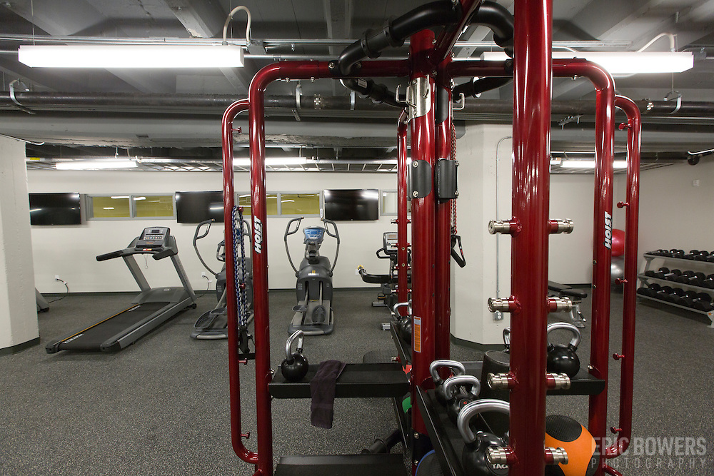 Fitness Center at Roaster's Block Apartments - Folger's Coffee Plant repurposing in downtown Kansas City, Missouri.