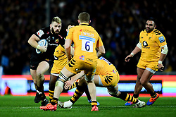 Luke Cowan-Dickie of Exeter Chiefs is challenged by Tim Cardall of Wasps - Mandatory by-line: Ryan Hiscott/JMP - 30/11/2019 - RUGBY - Sandy Park - Exeter, England - Exeter Chiefs v Wasps - Gallagher Premiership Rugby