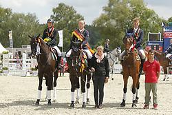 Jung, Michael;<br /> Klimke, Ingrid;<br /> Ostholt, Frank, Weidezaunsprofi´s River of Joy<br /> Meisterehrung<br /> © www.sportfotos-lafrentz.de/Stefan Lafrentz