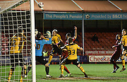 Scott Boden heads into his own net during the Sky Bet League 2 match between Crawley Town and Newport County at the Checkatrade.com Stadium, Crawley, England on 1 March 2016. Photo by Michael Hulf.