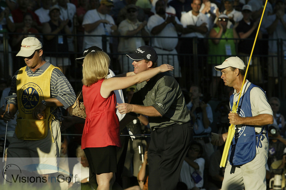 2003 PGA Championship at Oak Hill GC, Rochester NY<br />Sunday, August 17  Rnd 4<br />Photos: Michael Cohen<br /><br />Shaun Micheel wins PGA Championship Hugs wife.