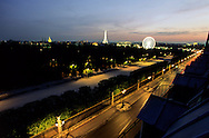 """France. Paris. Elevated view on Paris cityscape and the Eiffel tower. Paris The Invalides, the place de la Concorde, the eiffel tower, and the tuilerie garden. View from the """"Hôtel Brighton"""""""