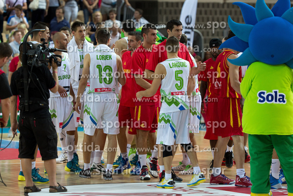 Players after friendly match between National teams of Slovenia and Montenegro for Eurobasket 2013 on August 23, 2013 in Arena Bonifika, Koper, Slovenia. (Photo by Matic Klansek Velej / Sportida.com)