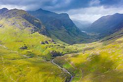 Aerial view of Beinn Fhada nearest part of Bidean Nam Bian also known as the Three Sisters of Glencoe , Highland Region, Scotland, UK