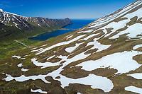 Héðinsfjörður aerial drone shot. North Iceland.