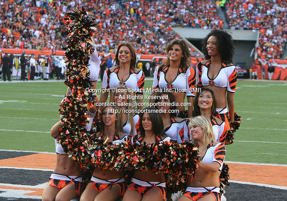 September 27 2009: Cincinnati Bengals Cheerleaders spelling out BENGALS during the game against the Pittsburgh Steelers at Paul Brown Stadium in Cincinnati, OH.