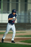 KELOWNA, BC - JULY 24: Austen Butler #28 of the Kelowna Falcons runs for first base against the Yakima Valley Pippins at Elks Stadium on July 24, 2019 in Kelowna, Canada. (Photo by Marissa Baecker/Shoot the Breeze)