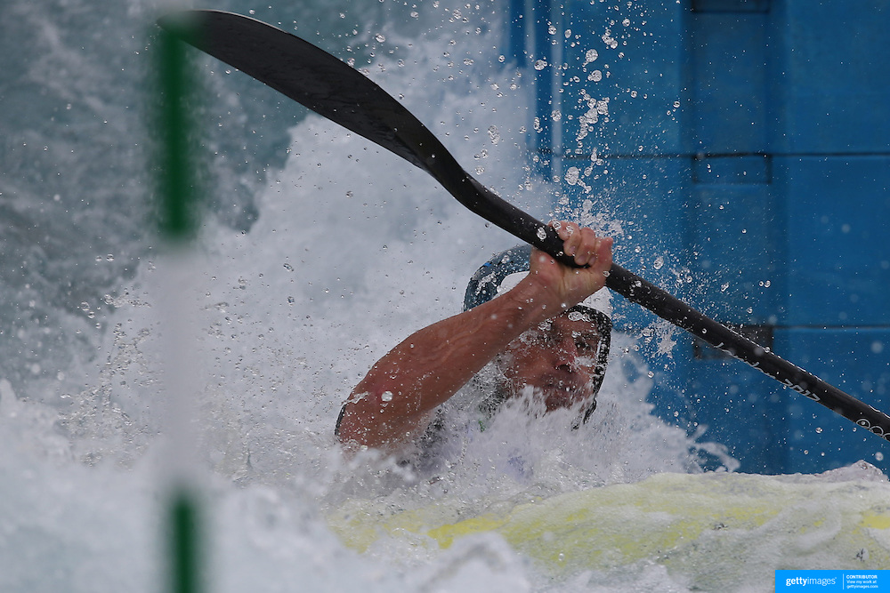 Helmut Oblinger, Austria, in action during the Kayak Single (K1) Men Final during the Canoe Slalom competition at Lee Valley White Water Centre during the London 2012 Olympic games. London, UK. 1st August 2012. Photo Tim Clayton