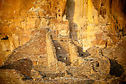 Pueblo Bonito ruin in evening light. Chaco Culture National Historical Park.