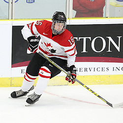 COBOURG, - Dec 15, 2015 -  Game #5 - Canada West vs the United States at the 2015 World Junior A Challenge at the Cobourg Community Centre, ON. Brandon Biro #16 of Team Canada West follows the play during the first period.(Photo: Tim Bates / OJHL Images)