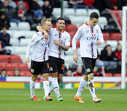 Milton Keynes Dons' Ben Reeves celebrates his goal with Milton Keynes Dons' Samir Carruthers - Photo mandatory by-line: Joe Meredith/JMP - Tel: Mobile: 07966 386802 18/01/2014 - SPORT - FOOTBALL - Ashton Gate - Bristol - Bristol City v MK Dons - Sky Bet League One