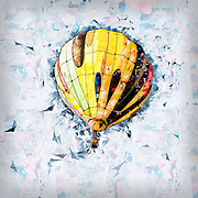 Digitally enhanced image of a floating hot air balloon