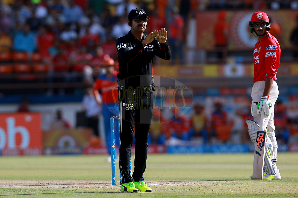 Anil Chaudhary Umpire during match 26 of the Vivo 2017 Indian Premier League between the Gujarat Lions and the Kings XI Punjab held at the Saurashtra Cricket Association Stadium in Rajkot, India on the 23rd April 2017<br /> <br /> Photo by Rahul Gulati - Sportzpics - IPL