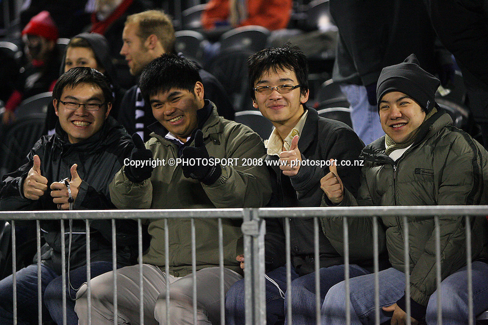 Fans give the thumbs-up.<br /> Iveco Test Series - All Blacks v England at AMI Stadium, Christchurch, New Zealand. Saturday 21 June 2008. Photo: Dave Lintott/PHOTOSPORT