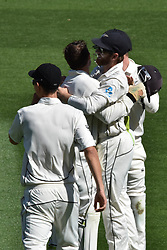 March 26, 2018 - Auckland, Auckland, New Zealand - Kane Williamson (R) of Blackcaps is congratulated by teammates taking wicket of Jonathan Bairstow of England during Day Five of the First Test match between New Zealand and England at Eden Park in Auckland on Mar 26, 2018. (Credit Image: © Shirley Kwok/Pacific Press via ZUMA Wire)