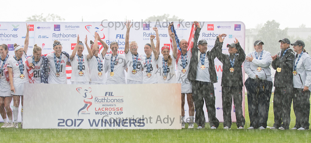 The USA team with their Gold medals at the 2017 FIL Rathbones Women's Lacrosse World Cup at Surrey Sports Park, Guilford, Surrey, UK, 15th July 2017