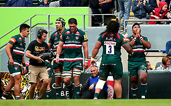 Manu Tuilagi of Leicester Tigers celebrates scoring a try - Mandatory by-line: Robbie Stephenson/JMP - 03/09/2017 - RUGBY - Welford Road - Leicester, England - Leicester Tigers v Bath Rugby - Aviva Premiership