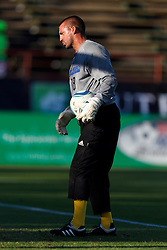 July 20, 2011; Santa Clara, CA, USA;  San Jose Earthquakes goalkeeper Jon Busch (18) warms up before the game against the Vancouver Whitecaps at Buck Shaw Stadium. San Jose tied Vancouver 2-2.