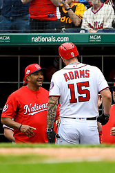 May 6, 2018 - Washington, DC, U.S. - WASHINGTON, DC - MAY 06:  Washington Nationals first baseman Matt Adams (15) is congratulated by manager Dave Martinez (4) after hitting a solo home run in the second inning during the game between the Philadelphia Phillies and the Washington Nationals on May 6, 2018, at Nationals Park, in Washington D.C.  The Washington Nationals defeated the Philadelphia Phillies, 5-4.  (Photo by Mark Goldman/Icon Sportswire) (Credit Image: © Mark Goldman/Icon SMI via ZUMA Press)