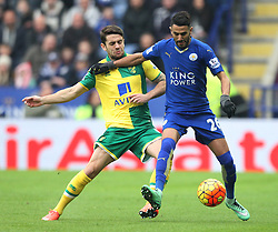 Robbie Brady of Norwich City (L) and Riyad Mahrez of Leicester City in action - Mandatory byline: Jack Phillips/JMP - 27/02/2016 - FOOTBALL - King Power Stadium - Leicester, England - Leicester City v Norwich - Barclays Premier League