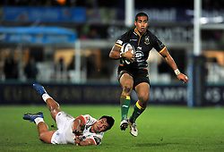 Ken Pisi of Northampton Saints goes on the attack  - Photo mandatory by-line: Patrick Khachfe/JMP - Mobile: 07966 386802 13/12/2014 - SPORT - RUGBY UNION - Northampton - Franklin's Gardens - Northampton Saints v Treviso - European Rugby Champions Cup