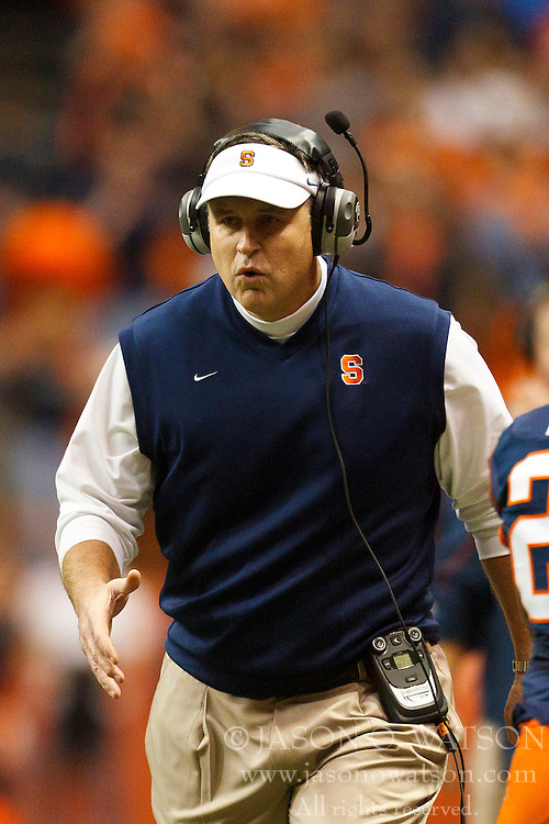 Oct 21, 2011; Syracuse NY, USA;  Syracuse Orange head coach Doug Marrone on the sidelines against the West Virginia Mountaineers during the first quarter at the Carrier Dome.  Syracuse defeated West Virginia 49-23. Mandatory Credit: Jason O. Watson-US PRESSWIRE