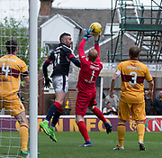 Dundee's Marcus Haber challenges Motherwell's Craig Samson in the air - Motherwell v Dundee, Fir Park, Motherwell, Photo: David Young<br /> <br />  - © David Young - www.davidyoungphoto.co.uk - email: davidyoungphoto@gmail.com