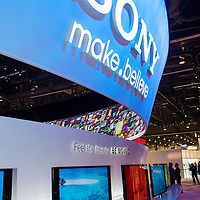 LAS VEGAS - JANUARY 11 : The Sony booth at the CES show held in Las Vegas on January 11 2013 , CES is the world's leading consumer-electronics show and companies from all over the world come to show their latest technologies and products.