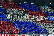 The Rangers fans put on a flag display before the Group G Europa League match between Rangers FC and FC Porto at Ibrox Stadium, Glasgow, Scotland on 7 November 2019.