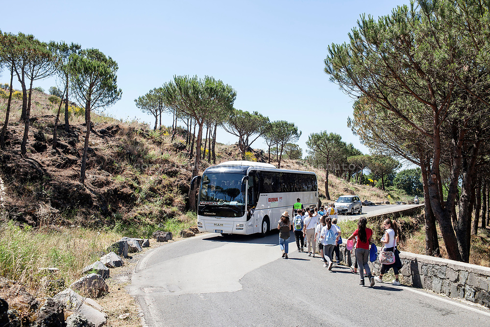 29 May 2017, San Vito, Ercolano, Naples Italy - Group of tourists on the road to volcano Vesuvius for the visit at the cone.